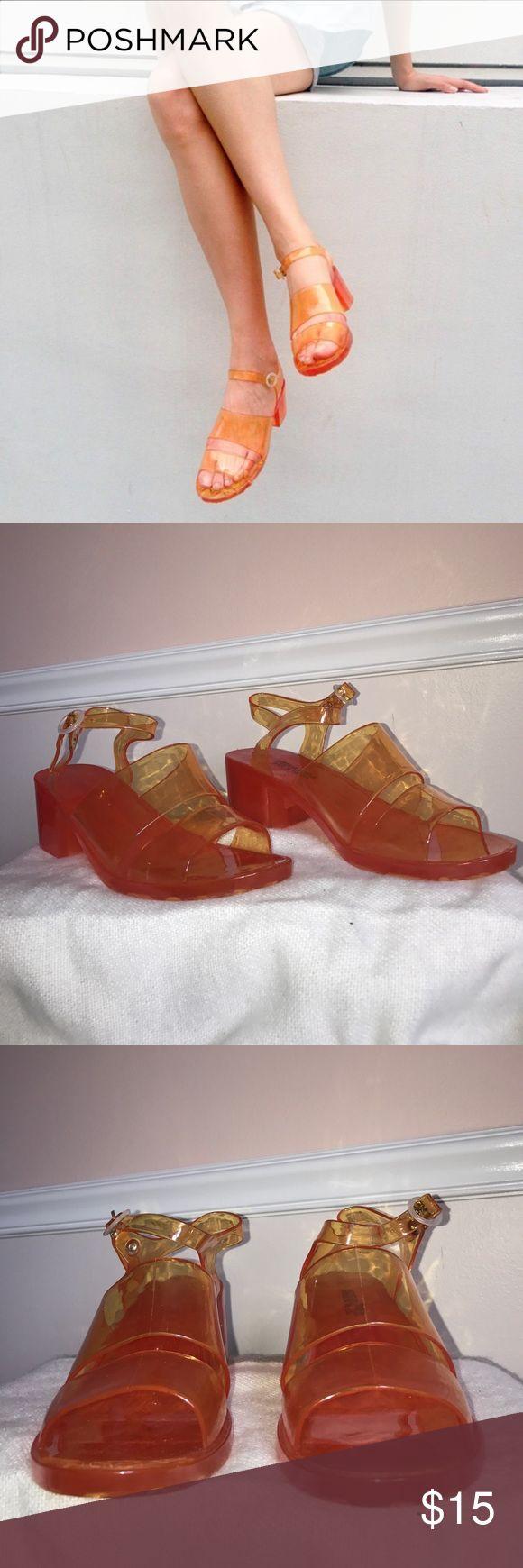 American Apparel electric orange jelly heels American Apparel electric orange jelly heels - never worn. Heel is 2 inches. American Apparel Shoes Heels