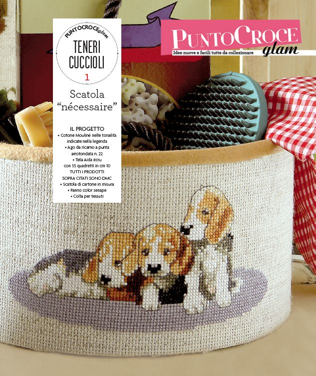 Un'idea originale per decorare le scatole di casa: con tanti teneri cuccioli! Da Punto Croce Glam n.1, Mondadori editore