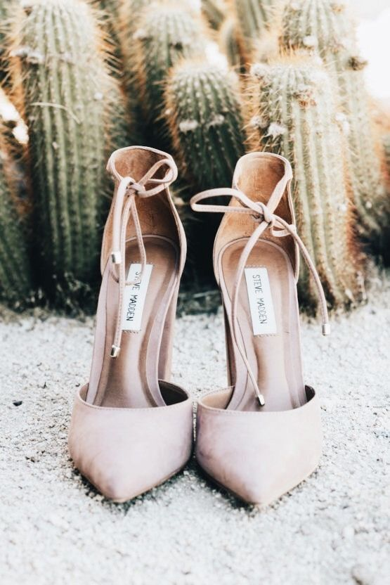 b6f17b6134b Love the bow straps on those pale pink heels.