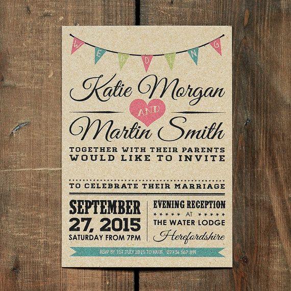 Jahrgang Bunting Hochzeit Einladung setzen auf Kraft-Karte - rustikale Hochzeit einlädt, rustikale Hochzeit Einladungen UK, Hochzeitseinladungen rustikal