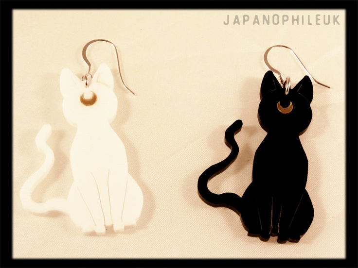Sailor Moon inspired Artemis and Luna Earrings with Sterling Silver fish hooks.. £5.99, via Etsy.