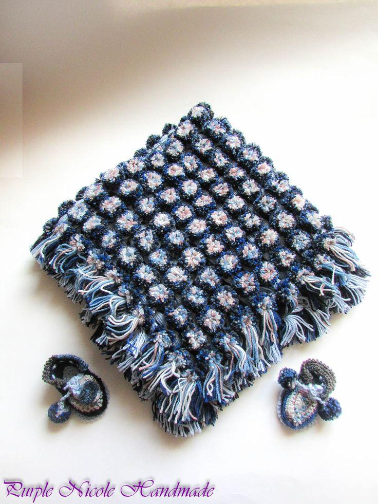 Blue - Handmade Crochet Children Set: beautiful pompom baby blanket & bootees - sandals by Purple Nicole (Nicole Cea Mov). Materials: light blue, navy, blue yarn.