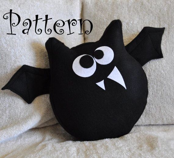 Bat Plush Pattern PDF Jugular the Bat Plush Pillow -Halloween Tutorial Pattern DIY How to Make