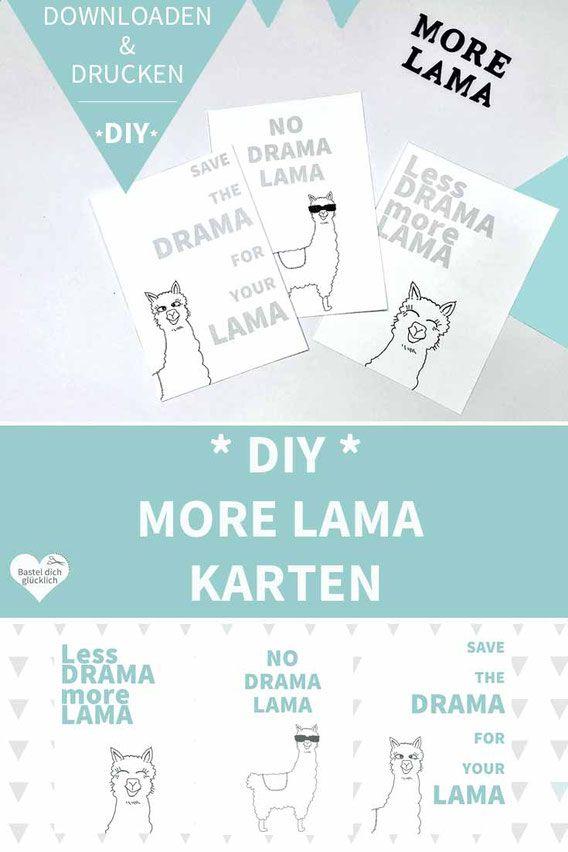 Diy Karten Zum Ausdrucken Lustige More Lama Karten Zum Ausdrucken
