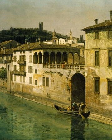 Detail of painting 'VIEW OF VERONA' by Bernardo Bellotto (1720-1780) at Powis Castle, Powys, Wales