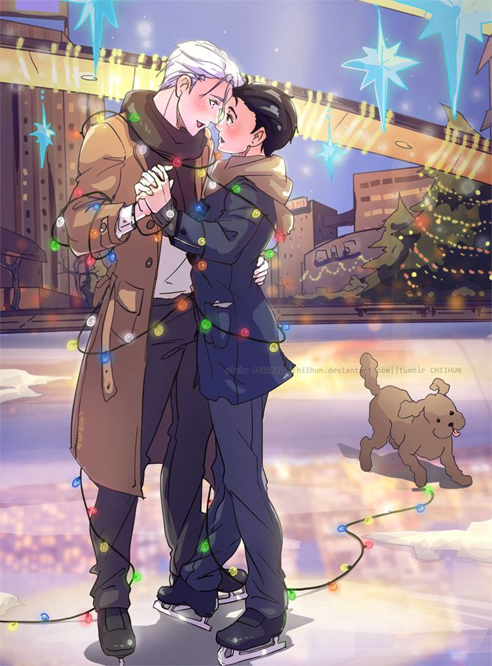 "chiihun: ""wanted to draw this when i catch up/marathon YOI over christmas & being viktor's bday and all, but. i kinda threw this plan aside and bumped this up my to do list……..so….cuz yea. ɷ◡ɷ """