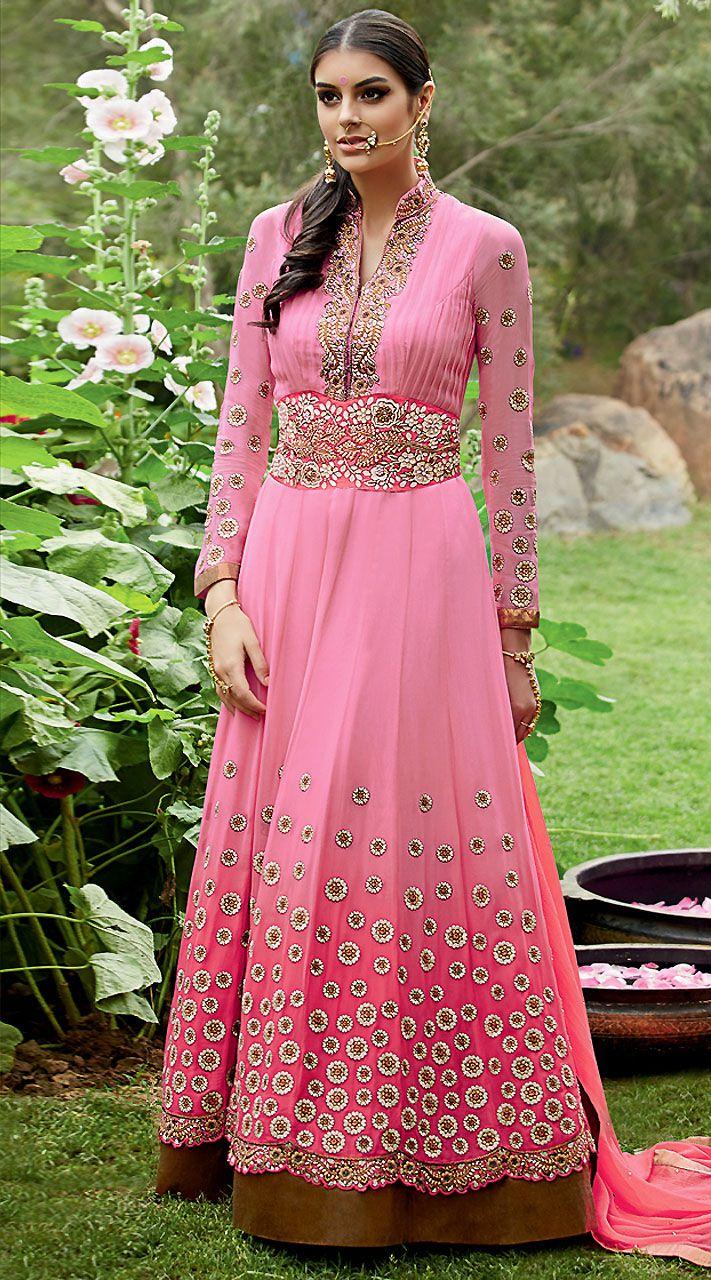 Fantastic Pink Georgette Floor Length Anarkali Suit With Dupatta