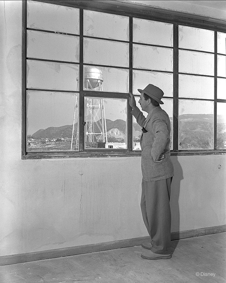 Rarely seen images from the Walt Disney Archives Walt Disney looks out across the under-construction lot of The Walt Disney Studios in Burbank, California.