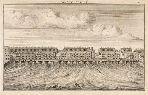 TOMS, W.H. London Bridge.  Original copper engraving published in William Maitland's The History of London, from its foundation by the Romans, to the Present Time, London, 1739. #engraving #london #print