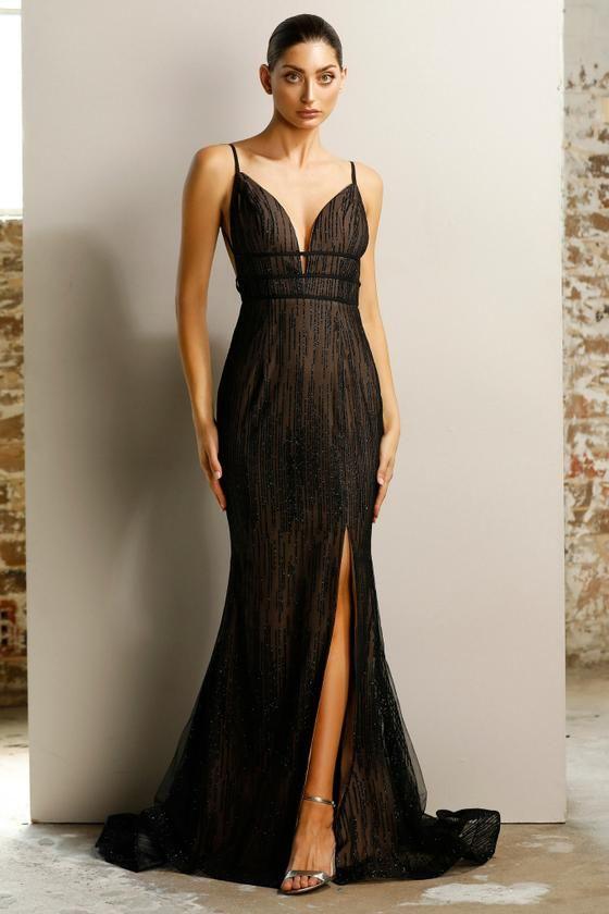 01642d59637 Jadore JX1124 Black   Nude Glitter Split Front Mermaid Formal Dress ...