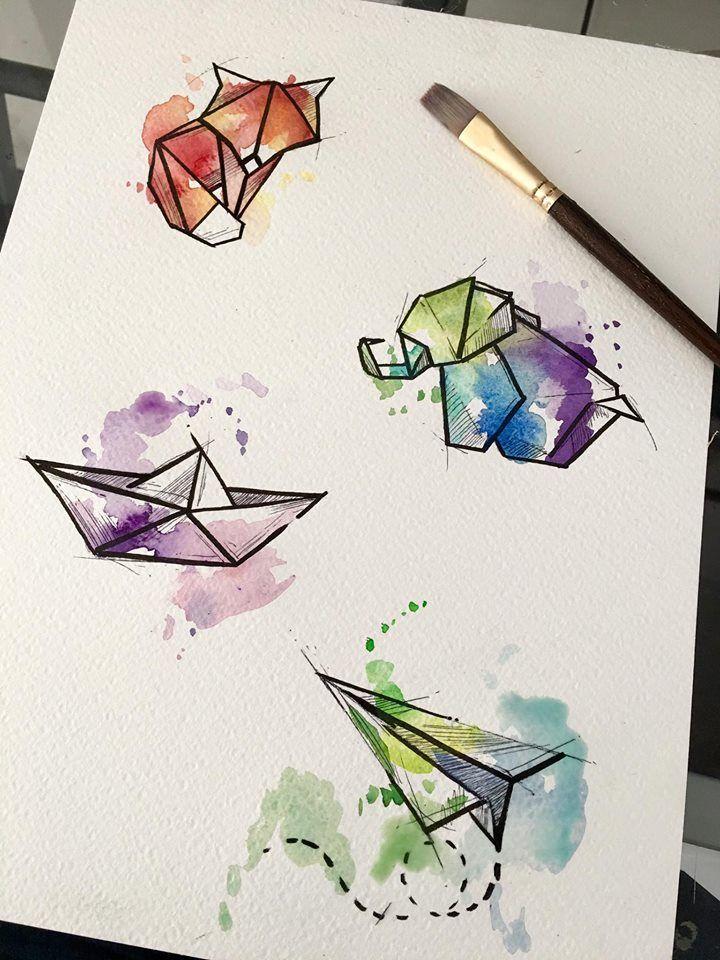 Watercolor origamis by @javiwolfink