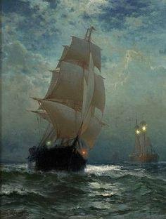 """Edward Moran - """"Ships at Night"""""""