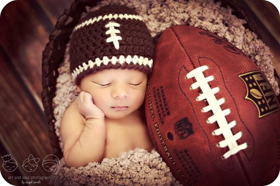 Newborn Photo Prop Baby Boy Football Hat by MitziKnitz on Etsy