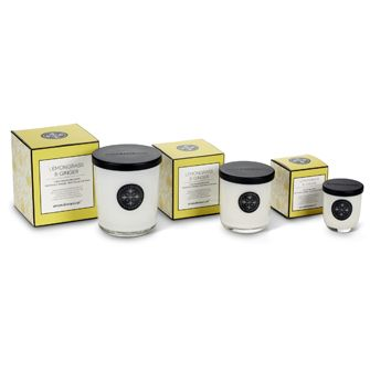 Lemongrass & Ginger Aromabotanicals scented candles, in three sizes