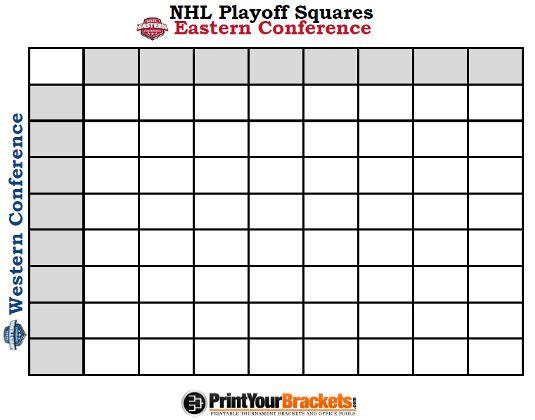 Printable NHL Playoff Squares Office Pool