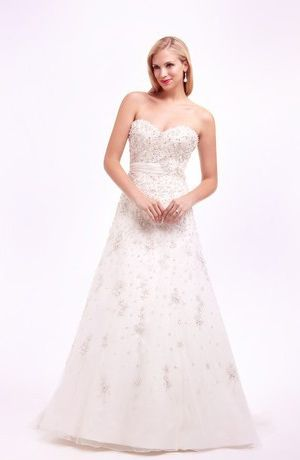 Bridal Gowns: Sophia Moncelli A-Line Wedding Dress with Sweetheart Neckline and Natural Waist Waistline