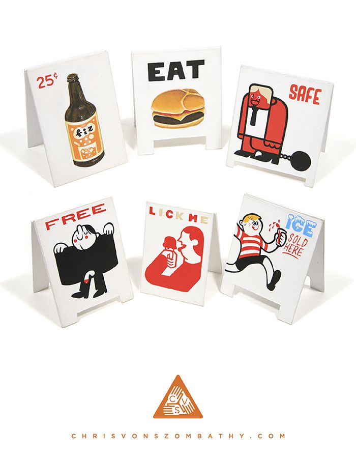 Minature Sandwich Boards (acrylic on board) by artist Chris von Szombathy.