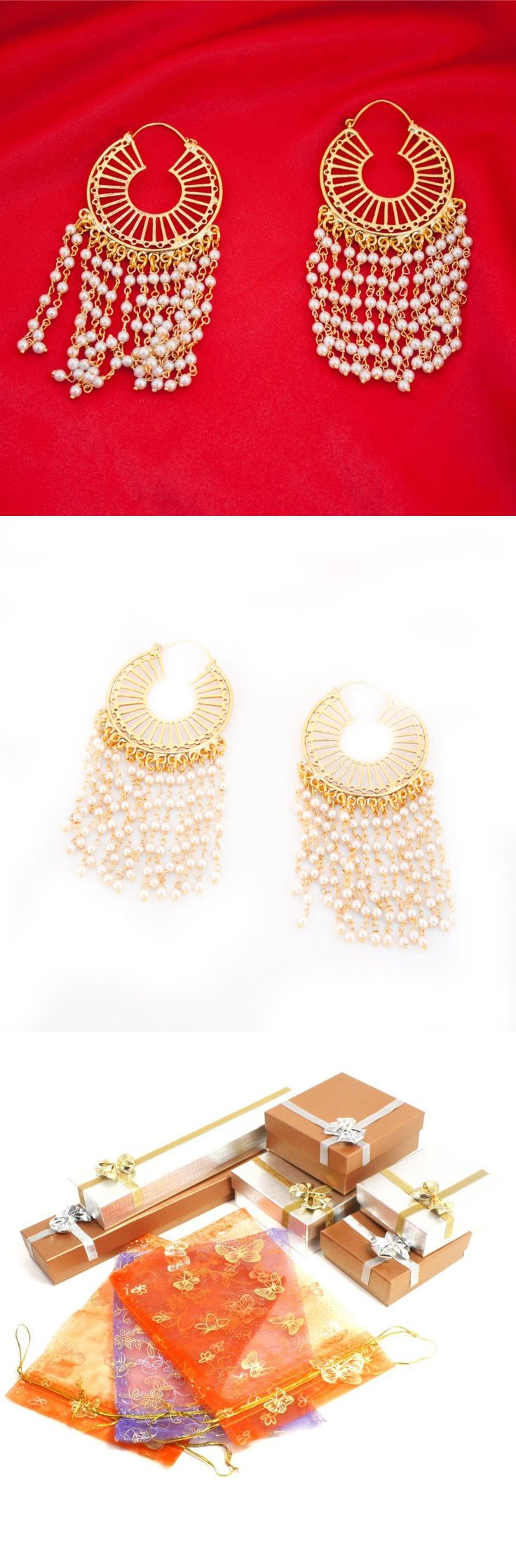 Earrings 98510: Pakistani Ethnic Indian Matte Gold Plated Hoop Earring With Chains And Pearls -> BUY IT NOW ONLY: $35 on eBay!