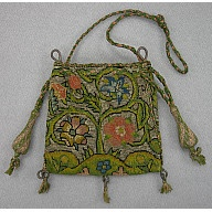 "Purse or bag, canvaswork embroidery    1600-1625  Origin: England  W: 4""; L: 3 5/8""  Silk, silver metallic threads, linen ground, wood tassel forms"