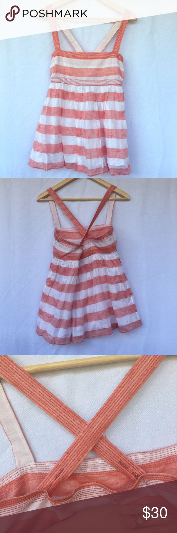 RARE J Crew Talitha Salmon Striped Cami Very rare. Perfect condition. Lightweight cotton material. Perfect summer top. Babydoll style. Adjustable button straps. J. Crew Tops Camisoles