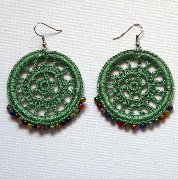 Pendientes Verdes Crochet / Mamá ¿Qué haces? - Artesanio