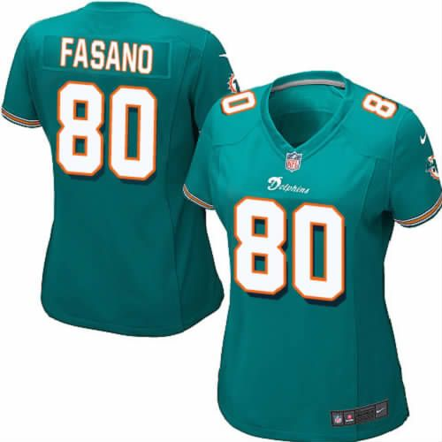 Anthony Fasano Jersey Miami Dolphins #80 Womens Green Limited Jersey Nike NFL Jersey Sale
