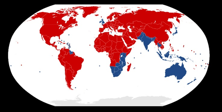 Countries driving on the left or right