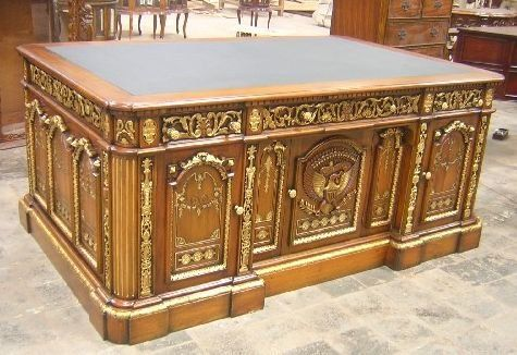 Solid Mahogany Resolute Desk - Presidential Desk. Hand carved from solid mahogany with tongue and groove as well as traditional mortise and tenon joints.