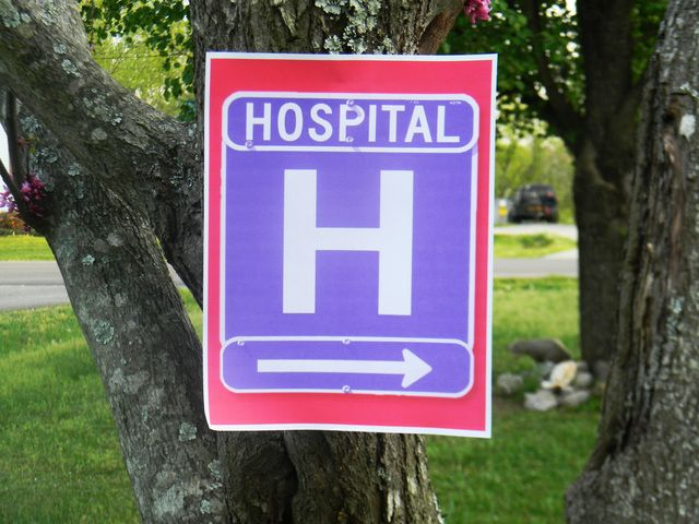 hospital sign for pointing people to the birthday party (I'd probably add something else to it just in case someone mistakes it for an actual hospital sign though)
