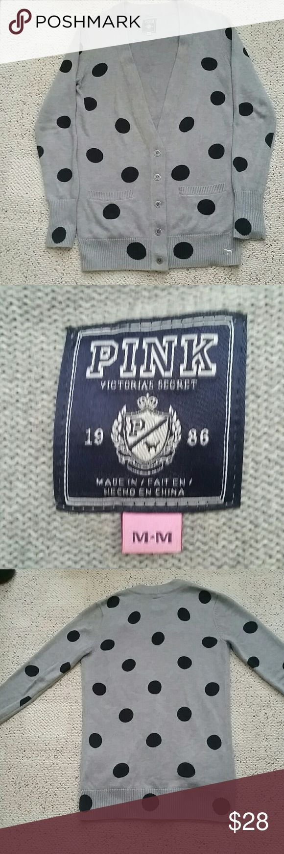 Victoria's Secret PINK cardigan **FINAL MARKDOWN** Like new! Gray/black polka dots sweater. Very warm! Looks great with leggings and boots:) Offers welcome!!! PINK Victoria's Secret Sweaters Cardigans