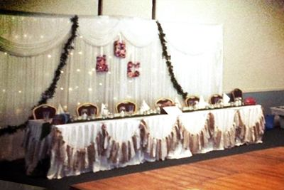 Catherine & Quoc -  Classic rustic vintage meets traditional Chinese wedding with our hessian lace bunting to decorate the bridal table http://www.marrighi.com.au/Wedding-event-decor/Hessian-Lace-Bunting-Flag-Bunting.html