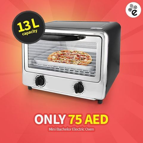 zpr ➤ Mini Bachelor Electric Oven 13 L ➣ Perfect for Baking & Grilling ➣ Coated Metal Body & Stainless Steel Front ➣ With Metal Grill & Tray ☛ http://www.esybuy.com/sale.html ☏ Call 04 355 69 39 | Order Online  #esybuy #ecommerce #dubai #uae #onlineshopping #discounts #deals #offers #homeappliances #kitchen #tools #appliances #gadgets #mini #electric #oven