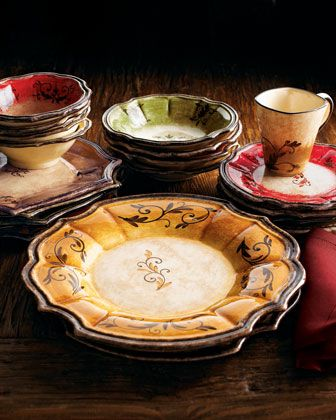 " Tuscan dinnerware! ""Forum"" Dinnerware Each piece of our ""Forum"" dinnerware reveals the intricate characteristics of the handcrafted, hand-painted, chip-resistant, Italian ceramic. It was developed using antique techniques that have been updated for modern production by OperaNova. Service includes four four-piece place settings in four assorted colors. Mugs hold 8 ounces. For 12.25""Dia serving bowl and 13.5""Dia. platter, specify Red, Gold, Green, or Brown. Oven, microwave, and dishwasher…"