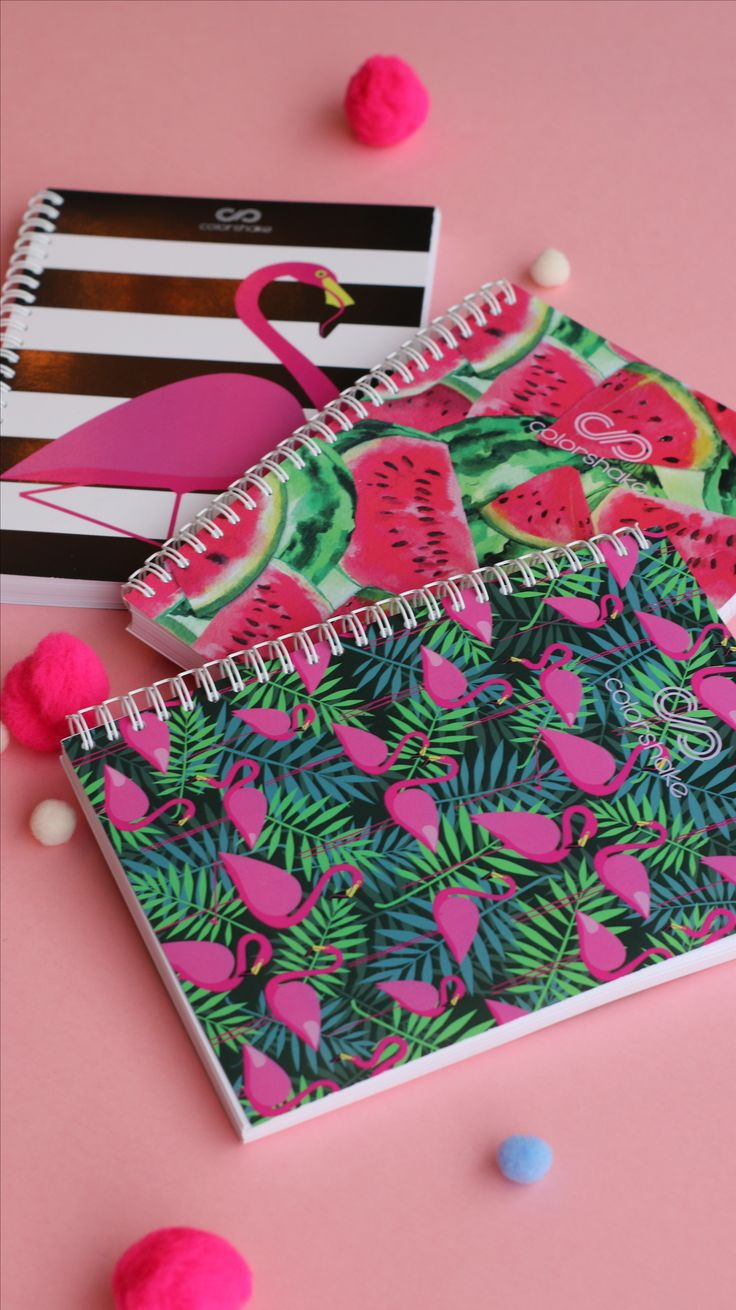 Colorshake notebooks in different prints available in our shop! #notebook #flamingo #watermelon #colorshake