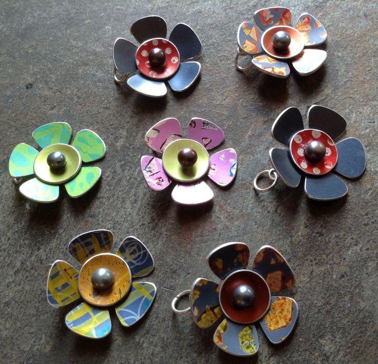 Petal Pendants - anodised aluminium with silver and fresh water pearls. Eleanor Watson - Eleanor designs 2014 www.eleanorwatson.co.uk