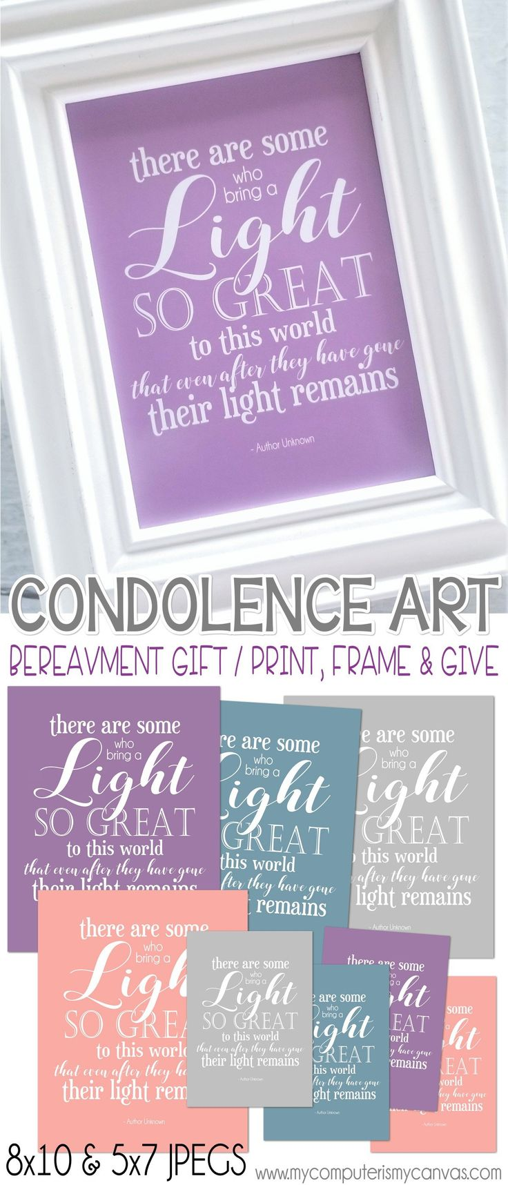 Condolence Art, Bereavement Gift - print, frame, give. There are some who bring a light so great... funeral display, funeral quote #mycomputerismycanvas
