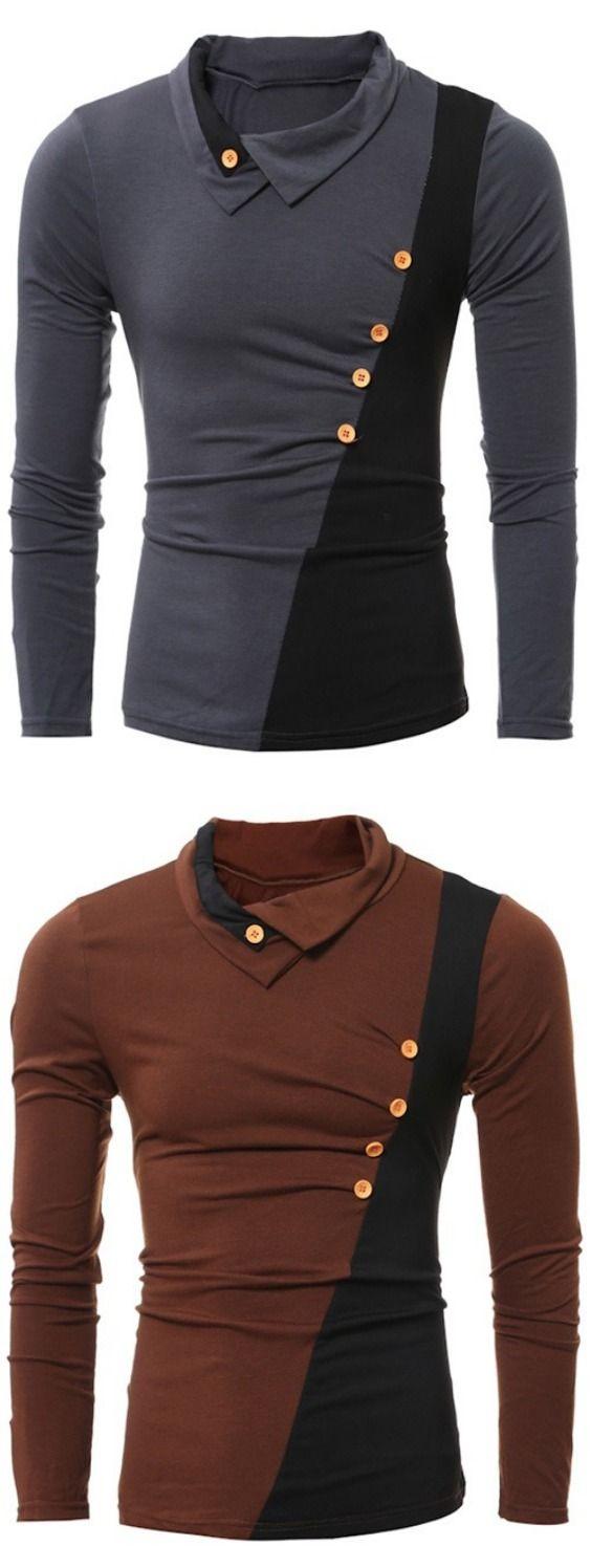 Button Embellished Turn-down Collar Insert T-Shirt