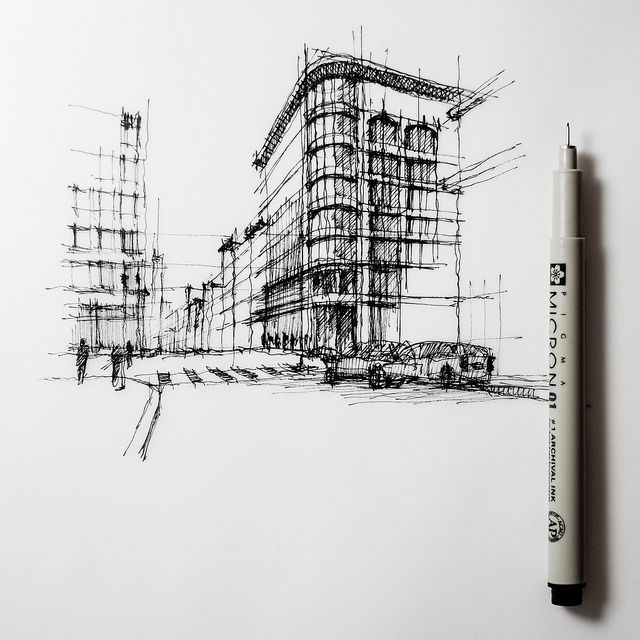 Line Art Architecture : Street corner unfinished sketch cityscape drawing