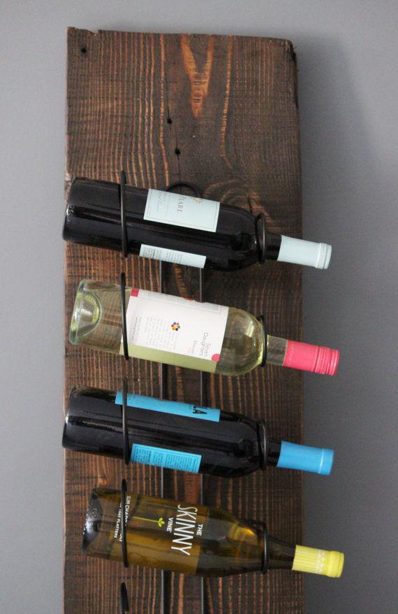 Simple Wine Rack mounted on Reclaimed Salvaged Barn Wood Plank