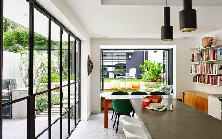 A110 Black & Brass Pendant Lights Alvar Aalto, Artek. Sydney home, Vogue Living.