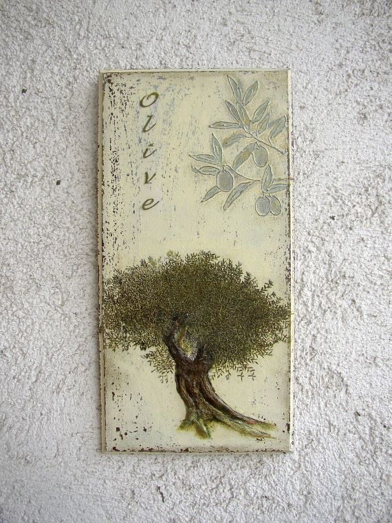 Olive Tree Kitchen Decor  Mixed Media Original Art  by FloroMondo