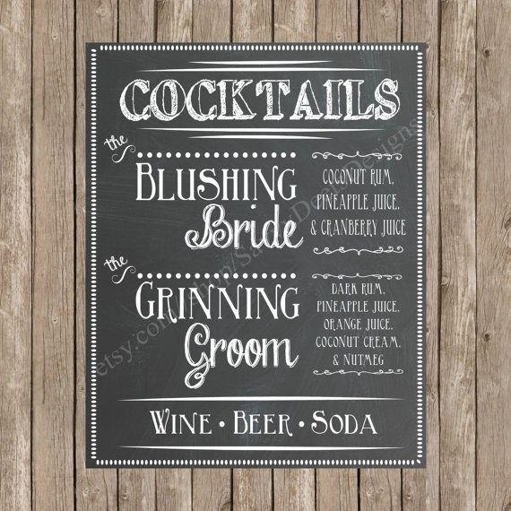 Custom Chalkboard Wedding Signature Cocktail by SavvyDeetsDesigns