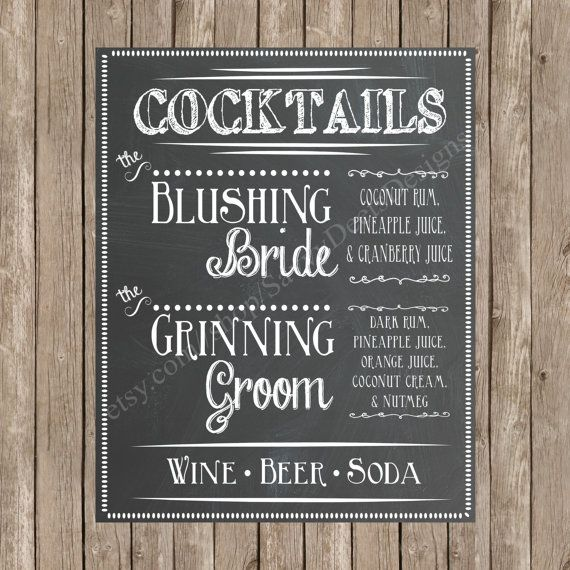 Custom Chalkboard Wedding Signature Cocktail Sign Printable
