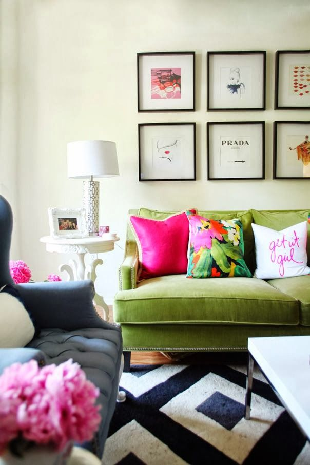 love this room, green sofa, interesting throw pillows, and fun artwork