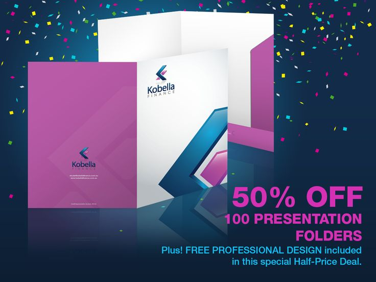 You can now order 100 gloss-laminated Presentation Folders at half the usual price PLUS claim new professional artwork for free.  So, that's 100 Presentation Folders and optional free design for just $225, saving you up to $290 in total. Claim your special June double-deal before the offer expires on 30/06/2015.