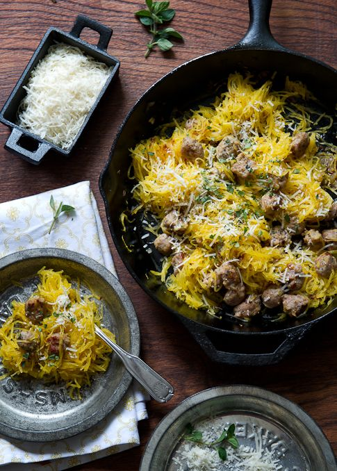 Roasted Spaghetti Squash with Sausage {whiteonricecouple.com}  Speaking of spaghetti squash...this is a keeper.