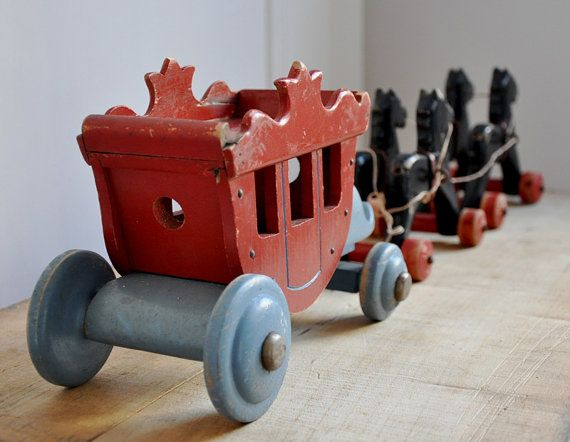 vintage wooden toy horsedrawn carriage by petitsdetails on Etsy