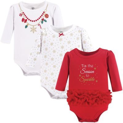 625007d5fe Size 12-18M 3-Pack Christmas Long Sleeve Bodysuits In Red