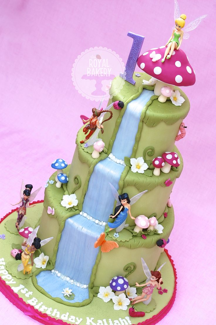 Tinkerbell and Friends - A Tinkerbell and friends cake for Kaliahs first birthday. The fairies are a plastic play set given to me by my customer. The cake is based on the style of Andreas Sweetcakes.