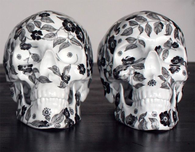Floral pattern porcelain skulls by Noon